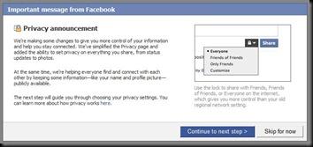 facebook privacy announcement 2009
