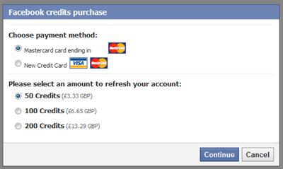 facebook credits balance