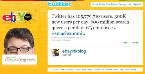 eBayInkBlog twitter stats tweet
