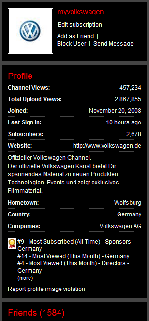 myvolkswagen youtube channel stats